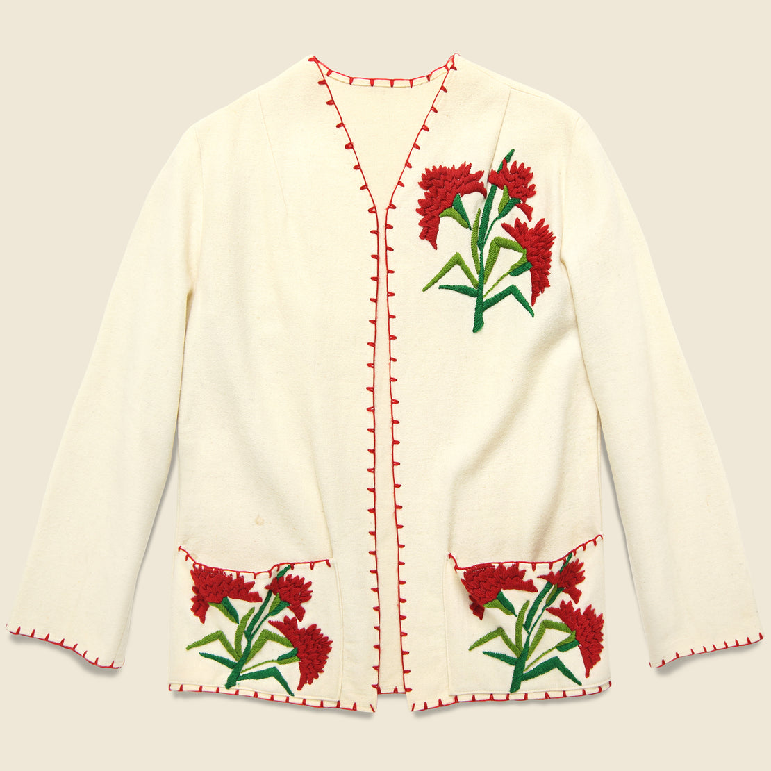 Vintage Floral Embroidered Wool Jacket - Cream/Red