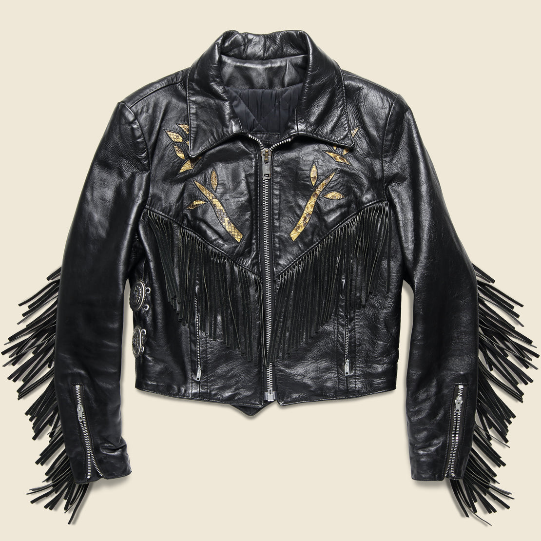 Vintage Leather Rider Concho & Tassle Biker Jacket - Black