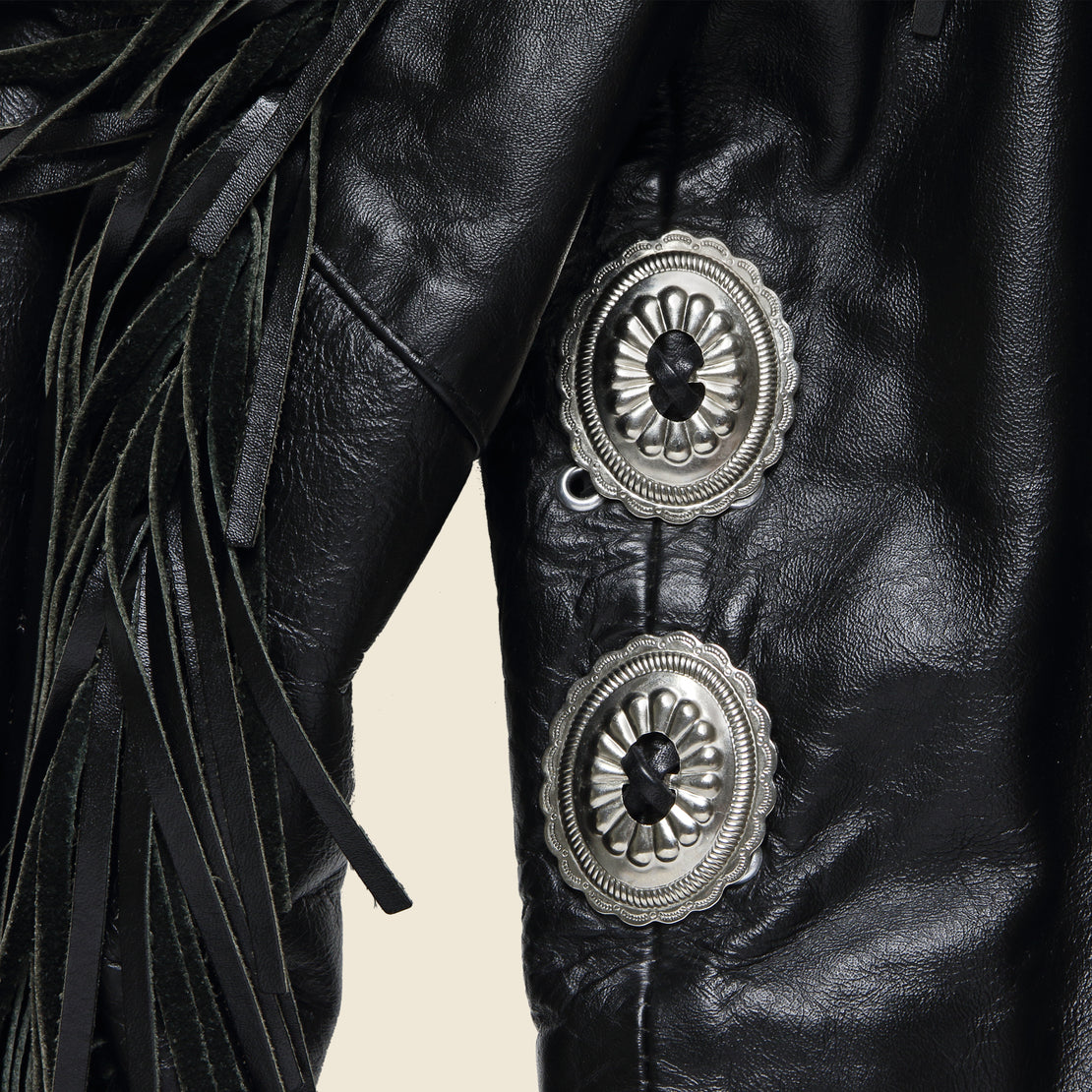 Leather Rider Concho & Tassle Biker Jacket - Black