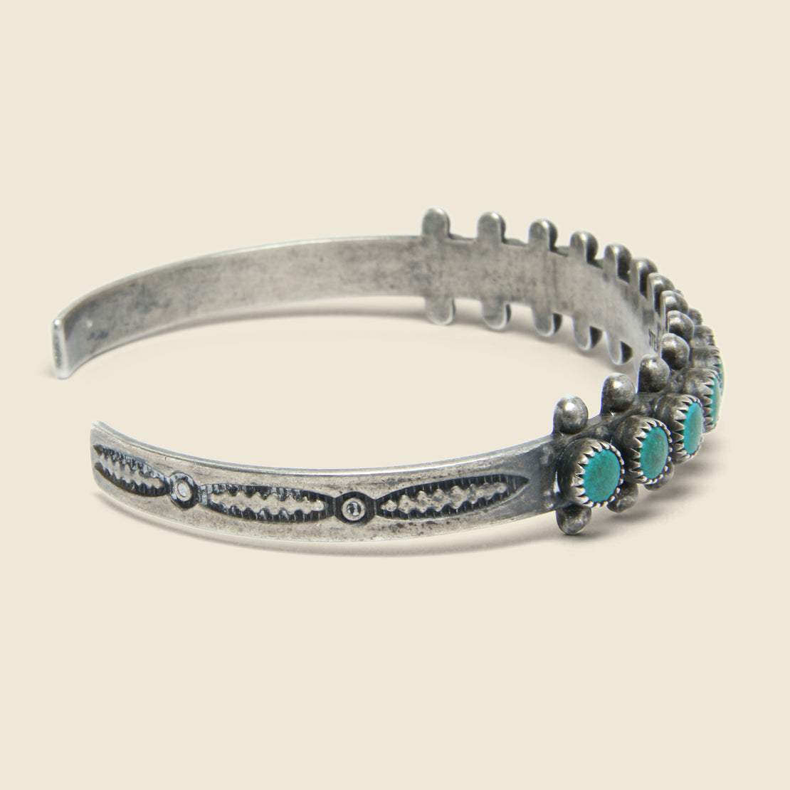 Round Petit Point Turquoise & Sterling Cuff - Silver