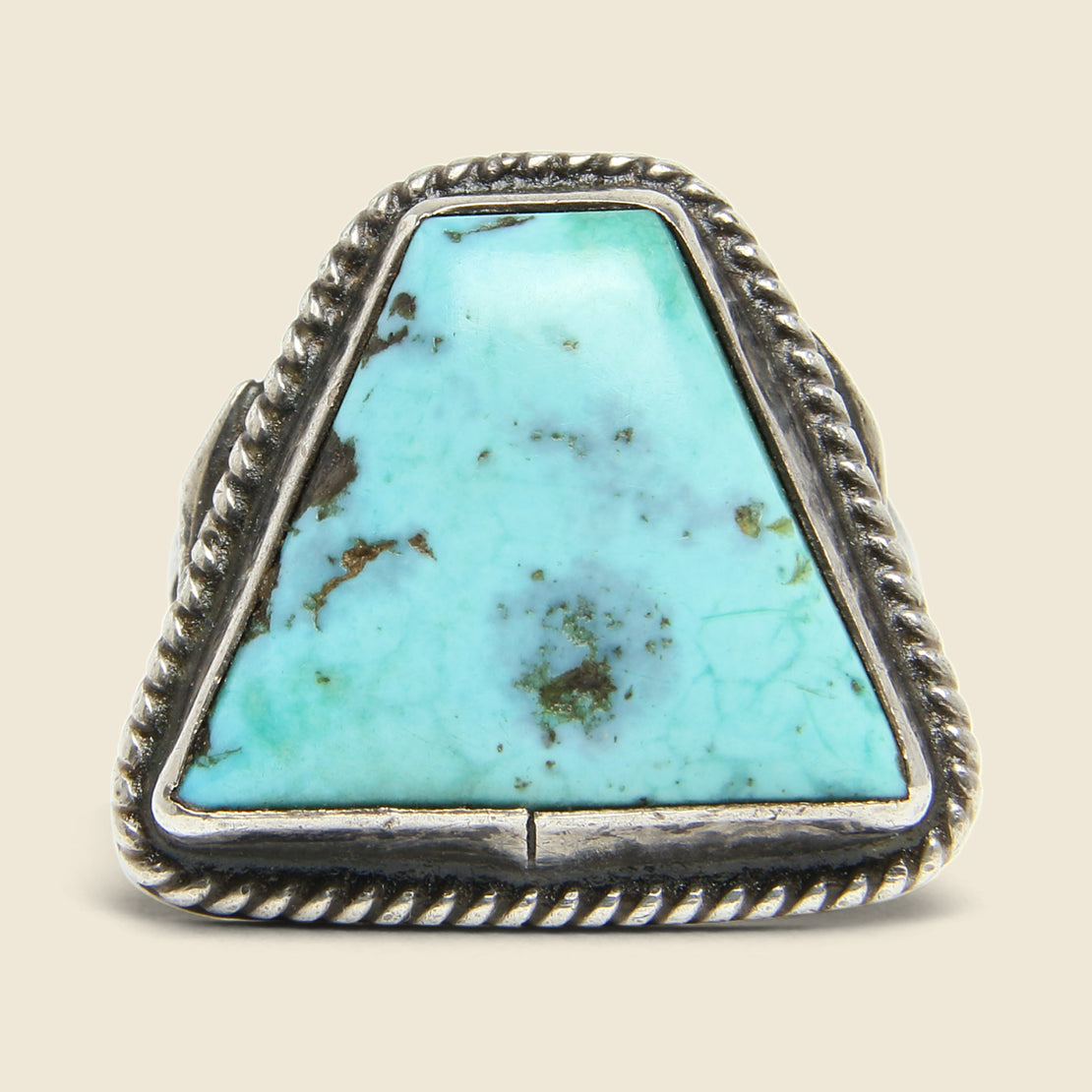 Triangle Turquoise & Rope Motif Ring - Sterling