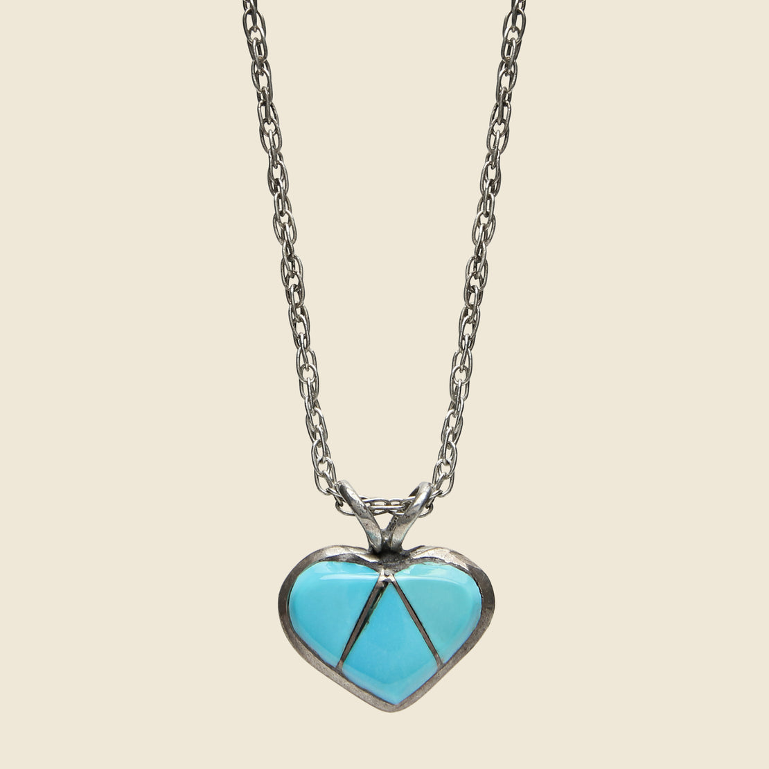 Vintage Zuni Heart Necklace - Sterling/Turquoise