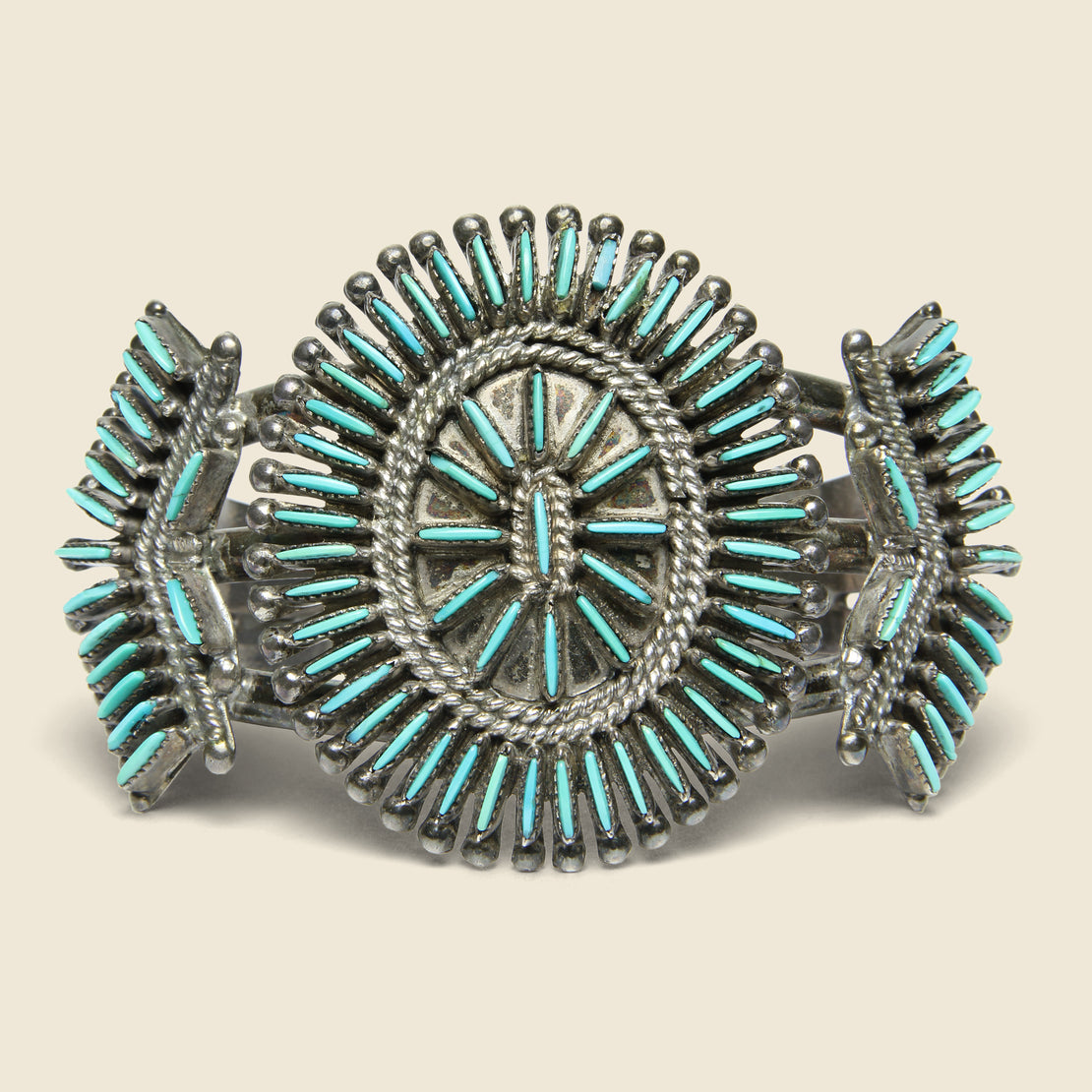 Vintage J.S. Bellson Petit Point Zuni Cuff - Sterling/Turquoise