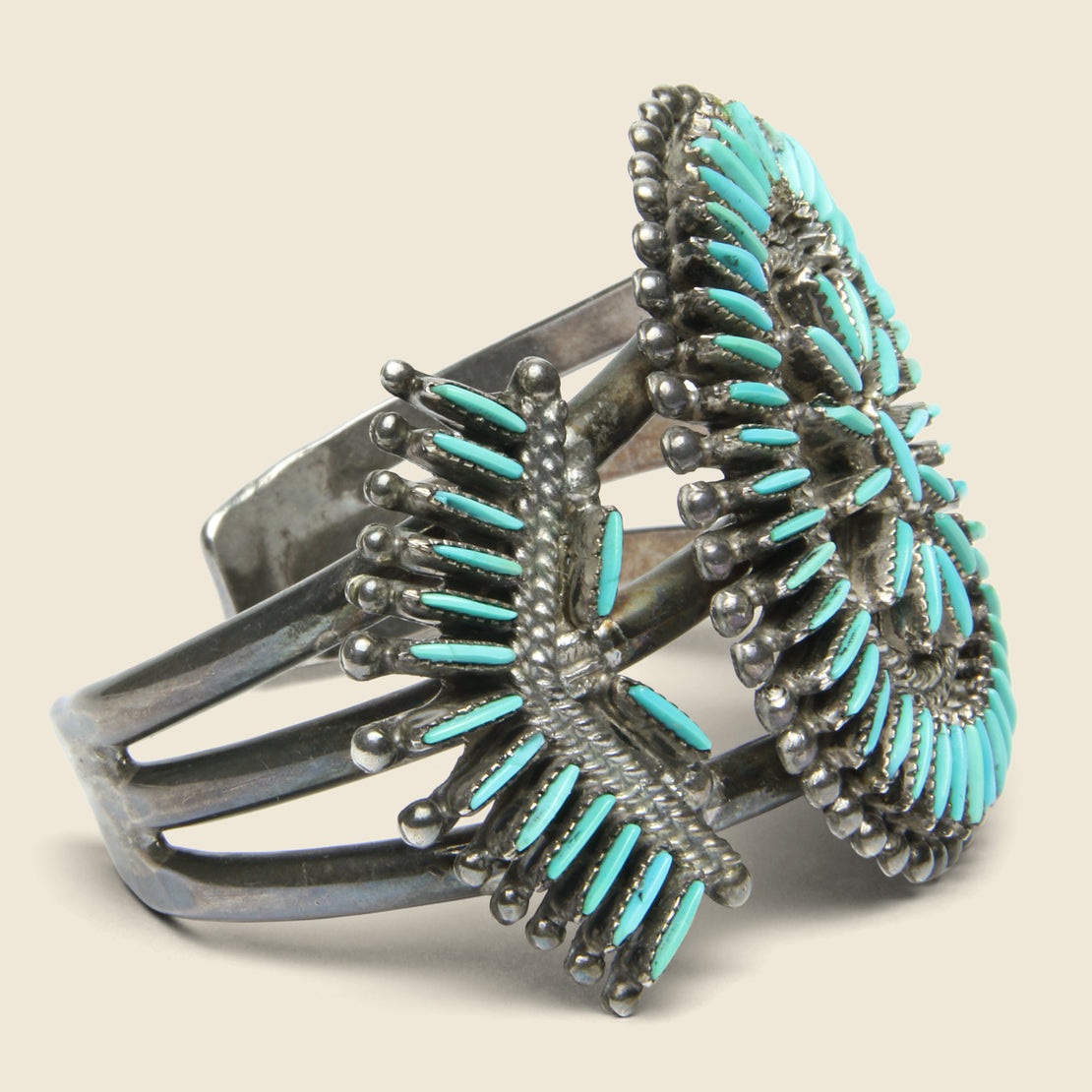 J.S. Bellson Petit Point Zuni Cuff - Sterling/Turquoise