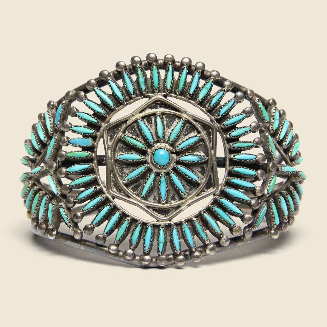 Vintage Sunburst Petit Point Zuni Cuff - Sterling/Turquoise