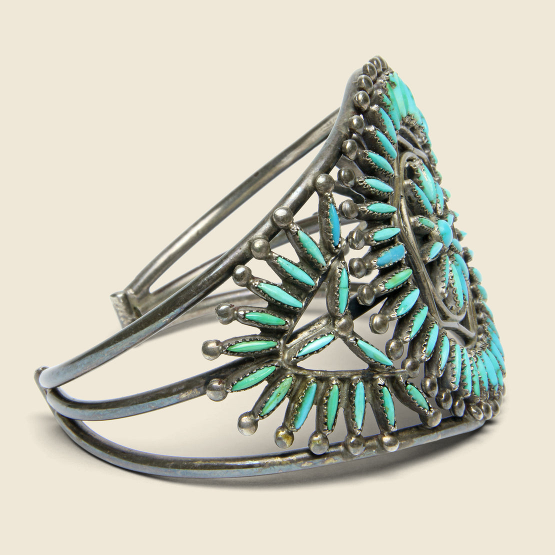 Sunburst Petit Point Zuni Cuff - Sterling/Turquoise