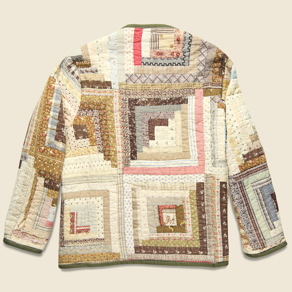 Scofield Log Cabin Quilt Kimono - Brown/Natural