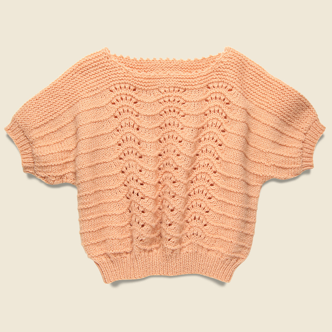 Vintage Crochet Knit Cropped Sweater - Peach