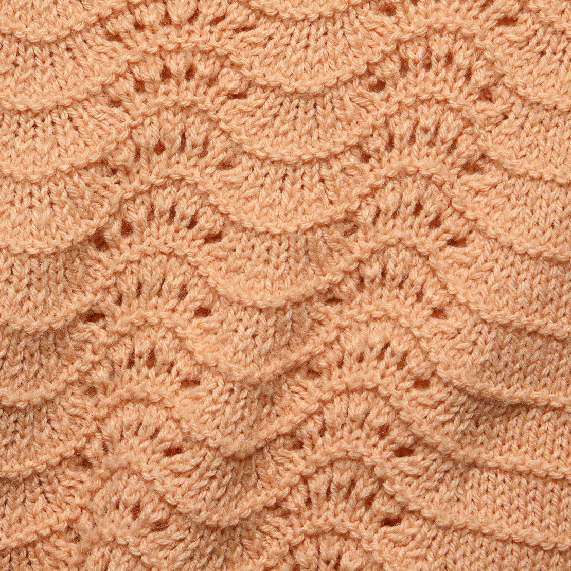 Crochet Knit Cropped Sweater - Peach