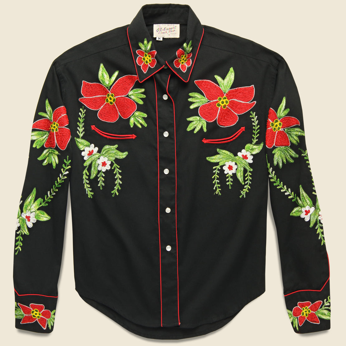 Vintage Rockmount Embroidered Poinsettia Pearl Snap Shirt - Black