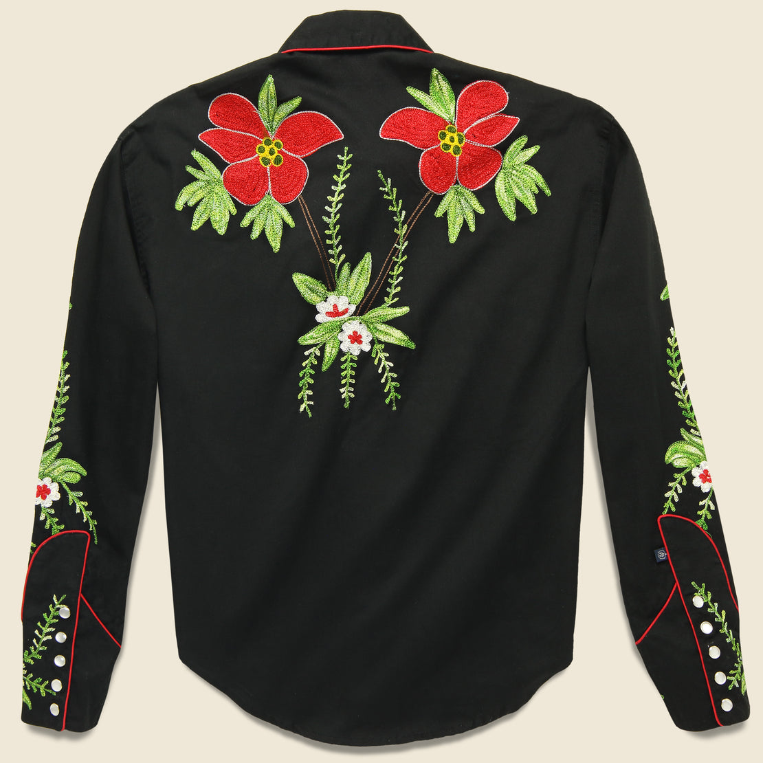 Rockmount Embroidered Poinsettia Pearl Snap Shirt - Black