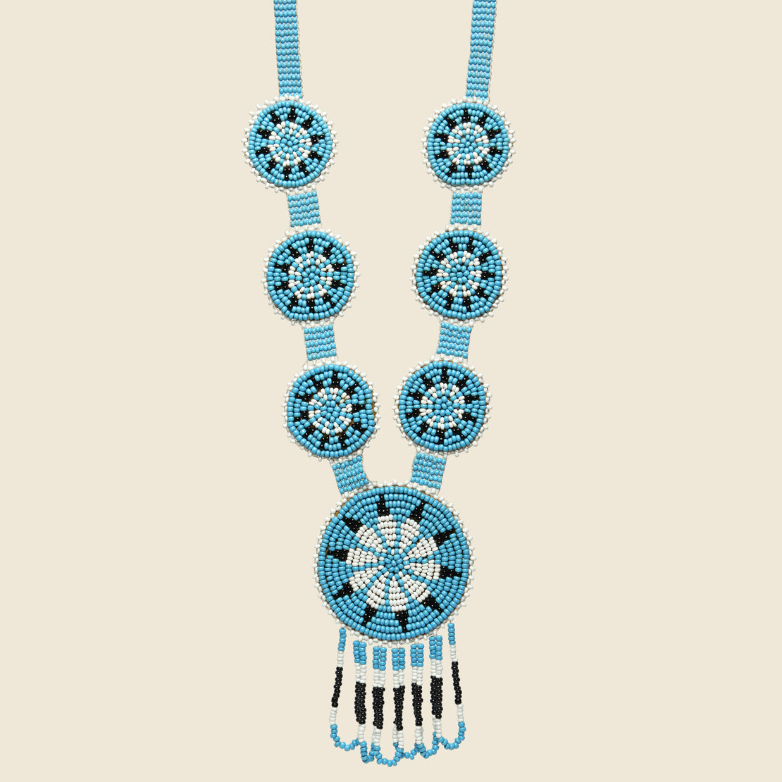 Vintage Beaded Medallion Necklace - Blue