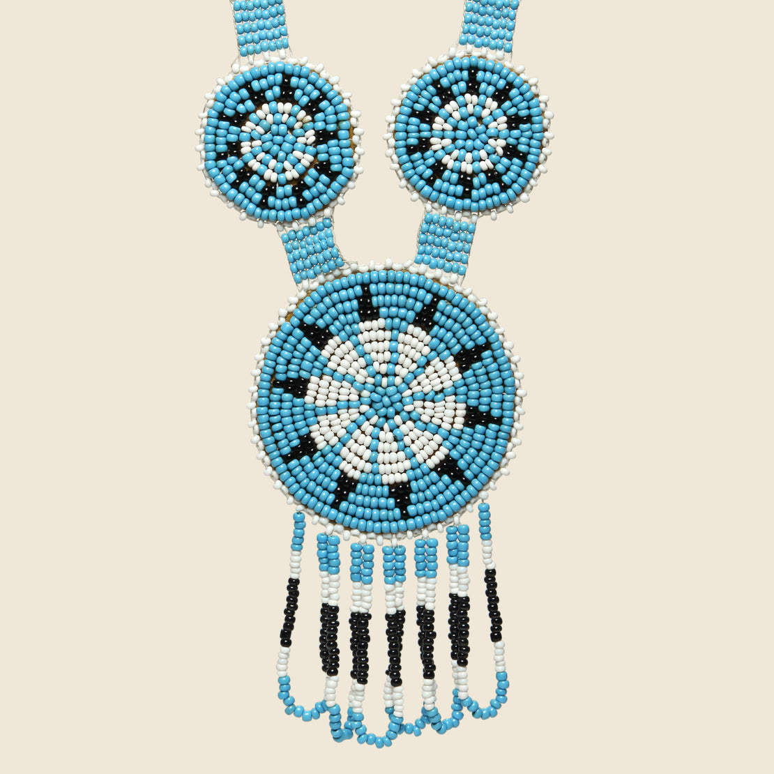 Beaded Medallion Necklace - Blue