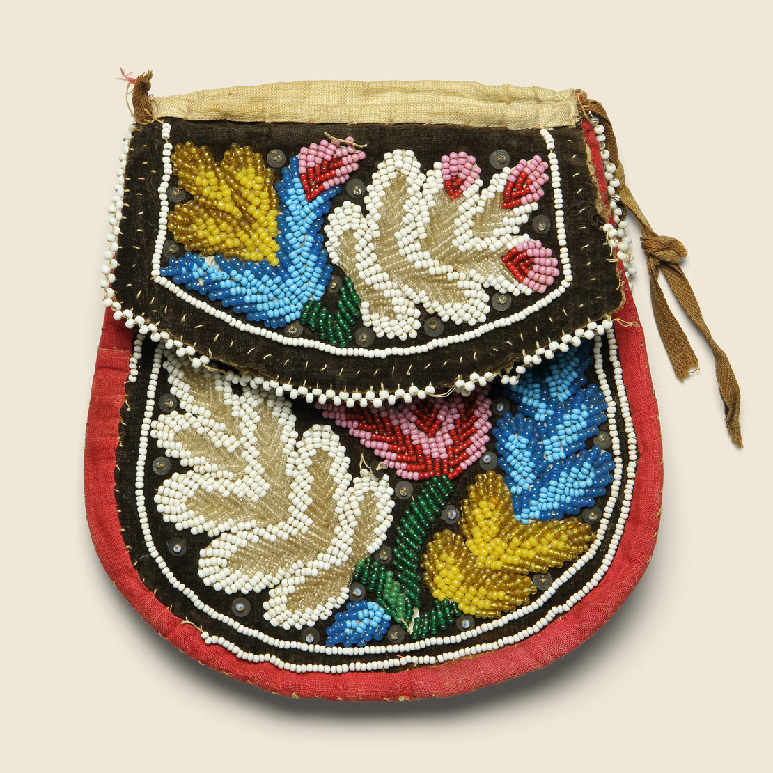 Iroquis Hand-Beaded Purse - Red Multi