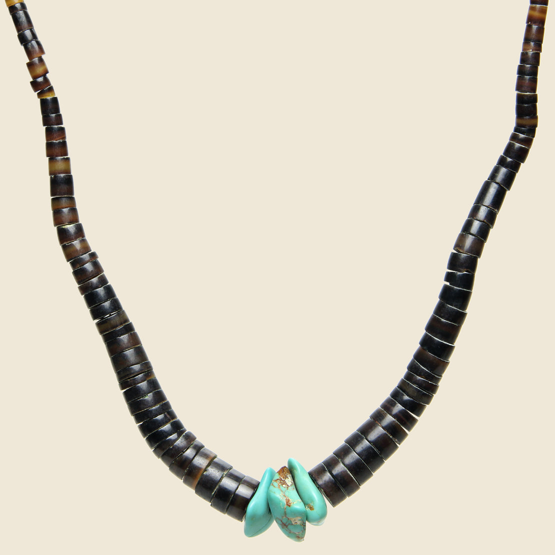 Three Turquoise Nugget & Shell Heishe Bead Necklace