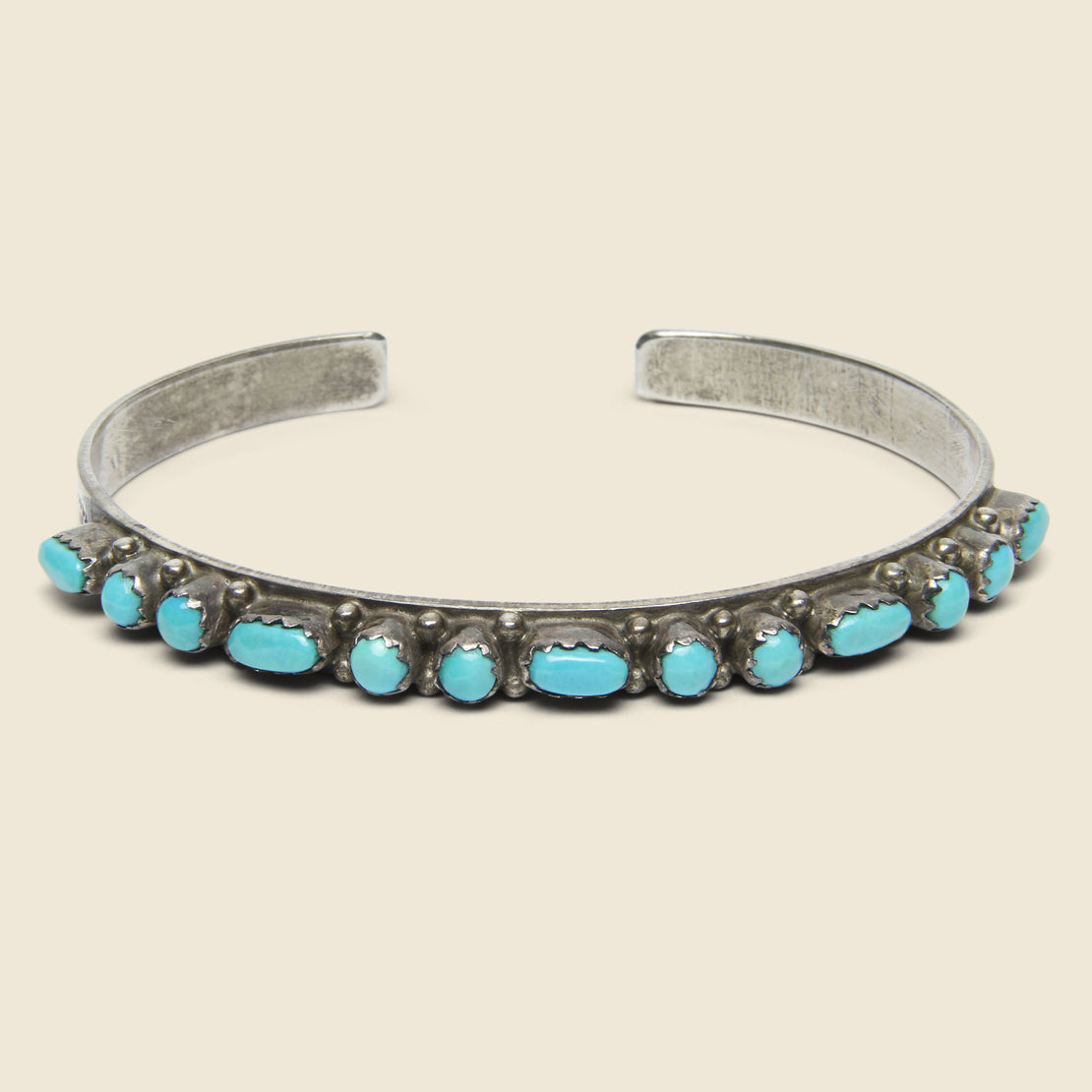 Vintage Turquoise Rounded Petit Point Sterling Cuff