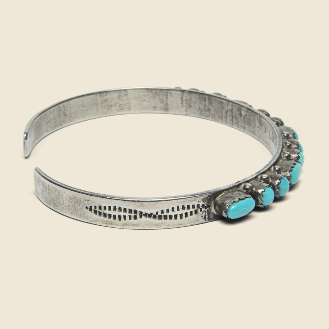 Turquoise Rounded Petit Point Sterling Cuff