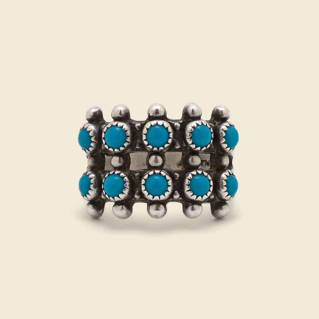 Petit Point Two Row Turquoise/Sterling Ring - Silver
