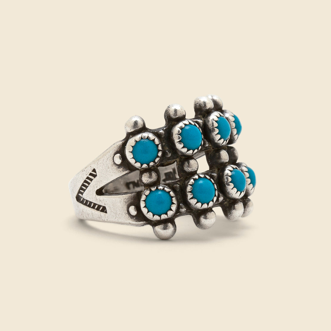 Vintage Petit Point Two Row Turquoise/Sterling Ring - Silver