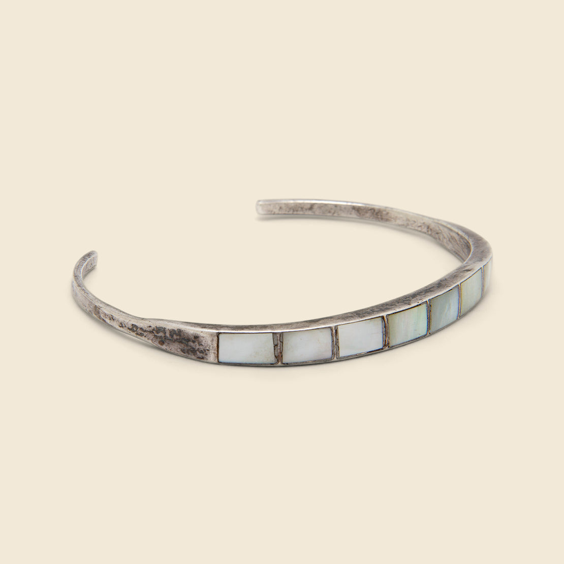 Rectangular Row Mother of Pearl Inlay Cuff - Sterling Silver