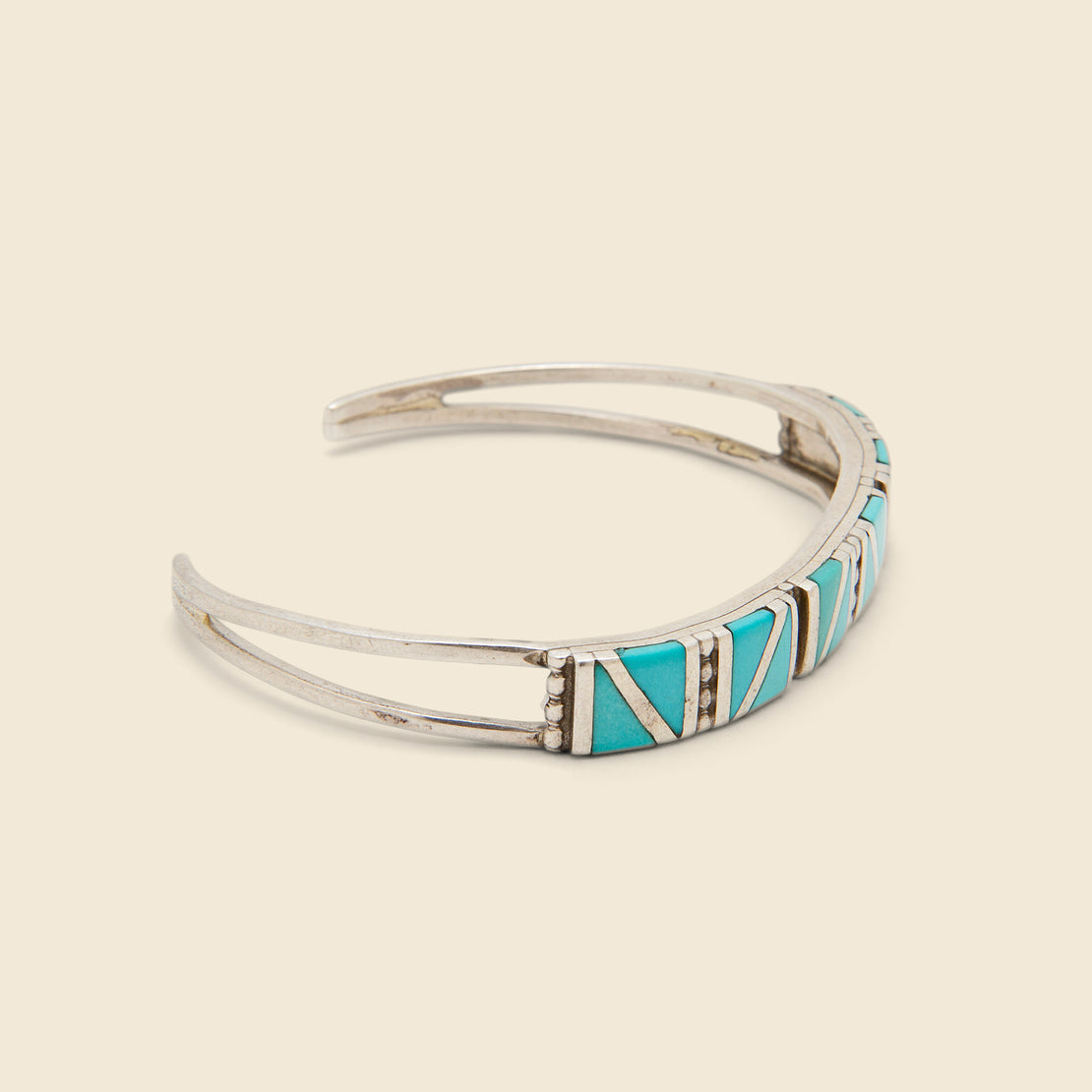 Zig Zag Triangular Turquiose Inlay Cuff - Sterling Silver