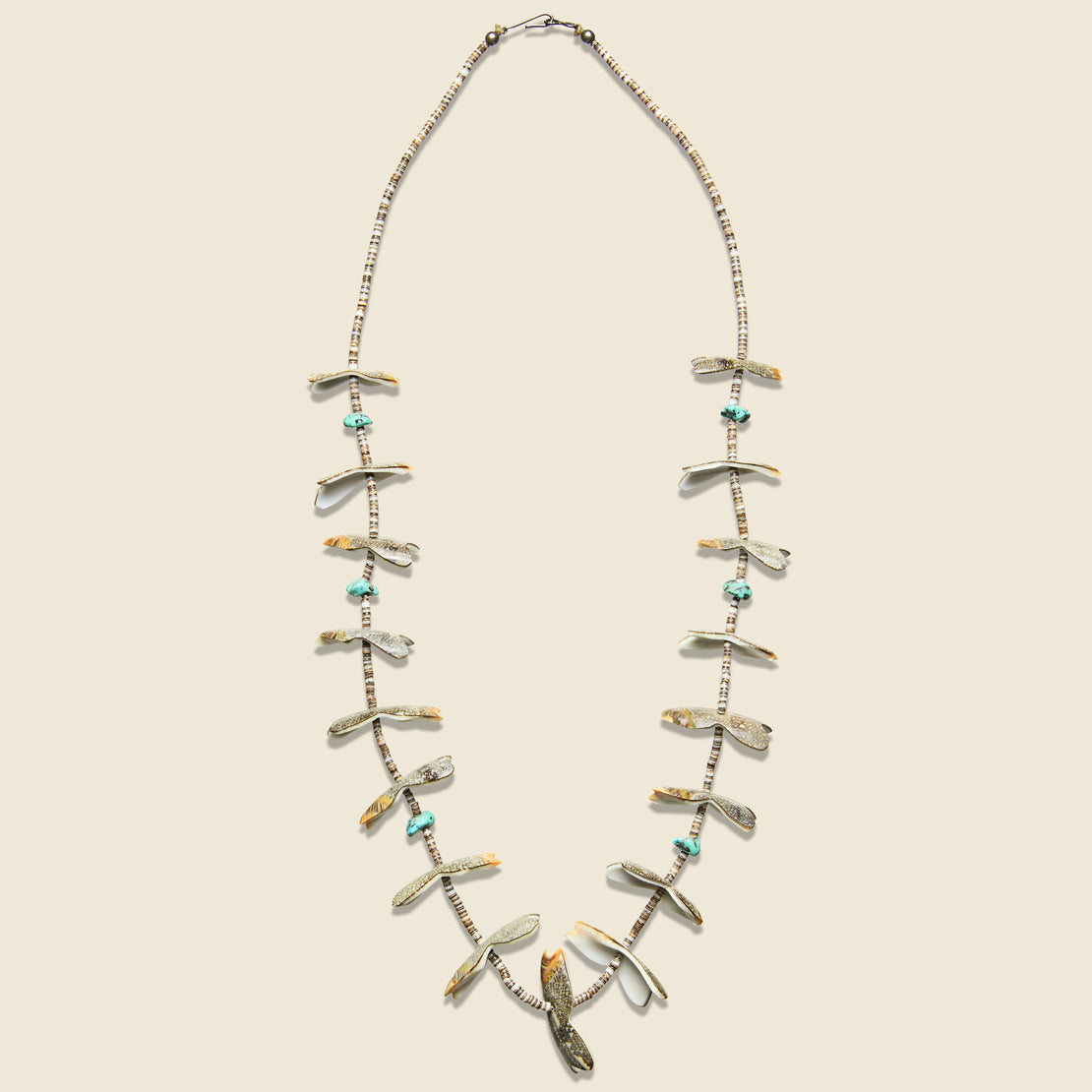 Vintage Nugget Shell & Turquoise Heishe Bead Fetish Necklace.