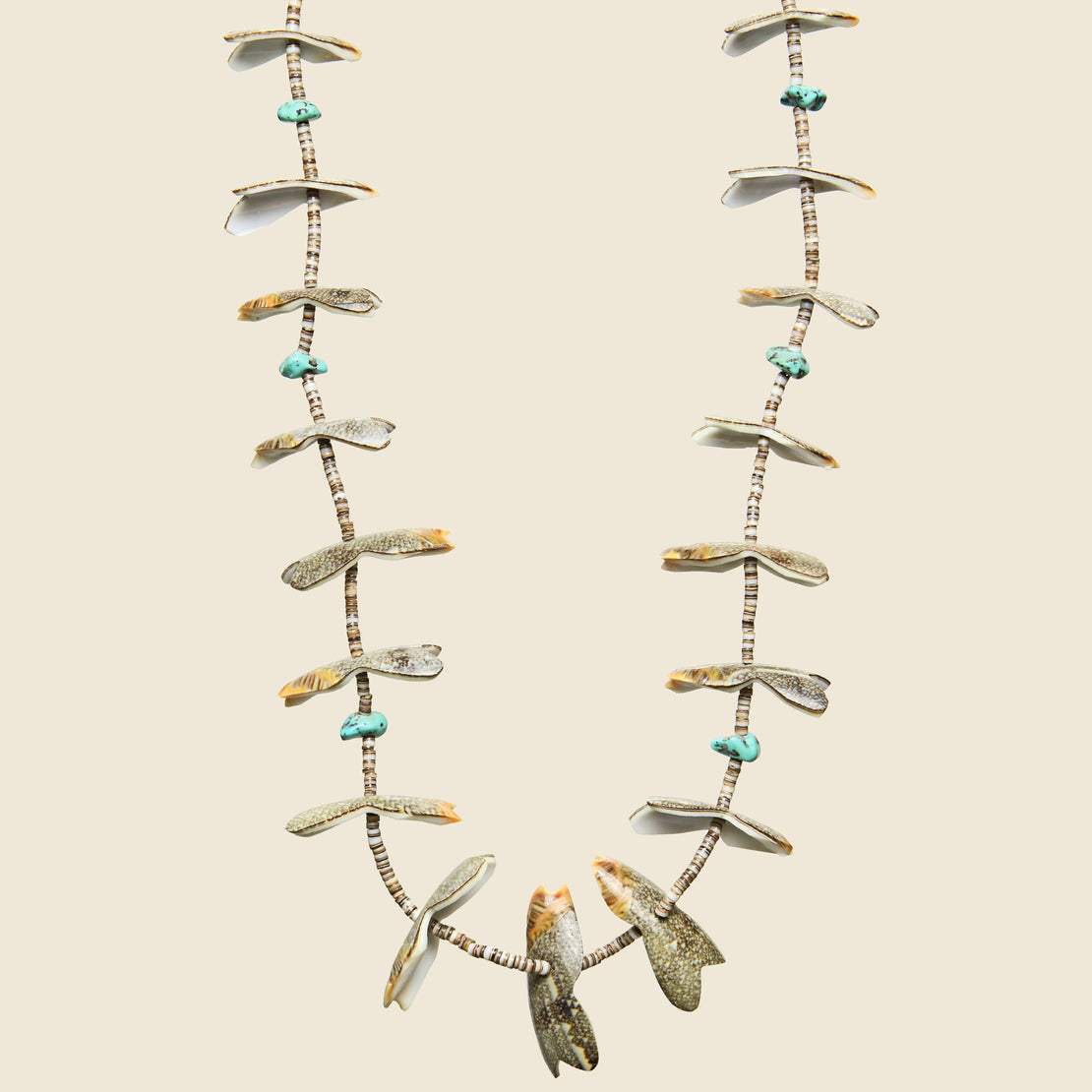 Nugget Shell & Turquoise Heishe Bead Fetish Necklace.