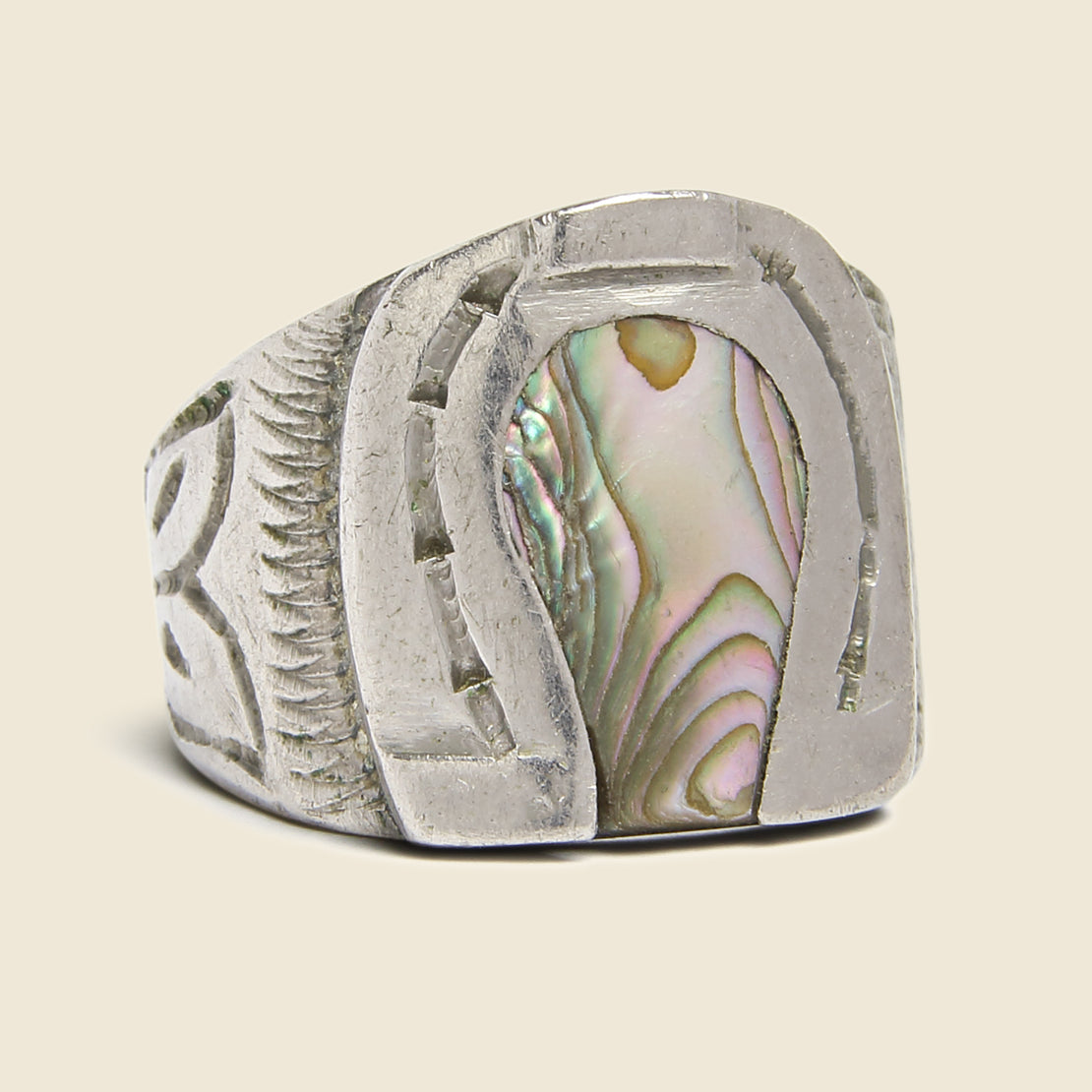 Vintage Stamped Sterling Silver & Abalone Horseshoe Ring
