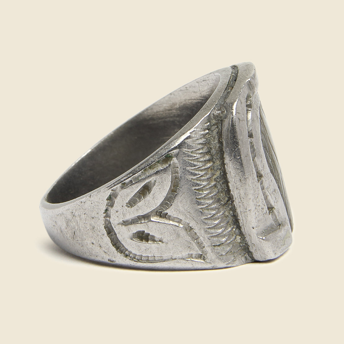 Stamped Sterling Silver & Abalone Horseshoe Ring