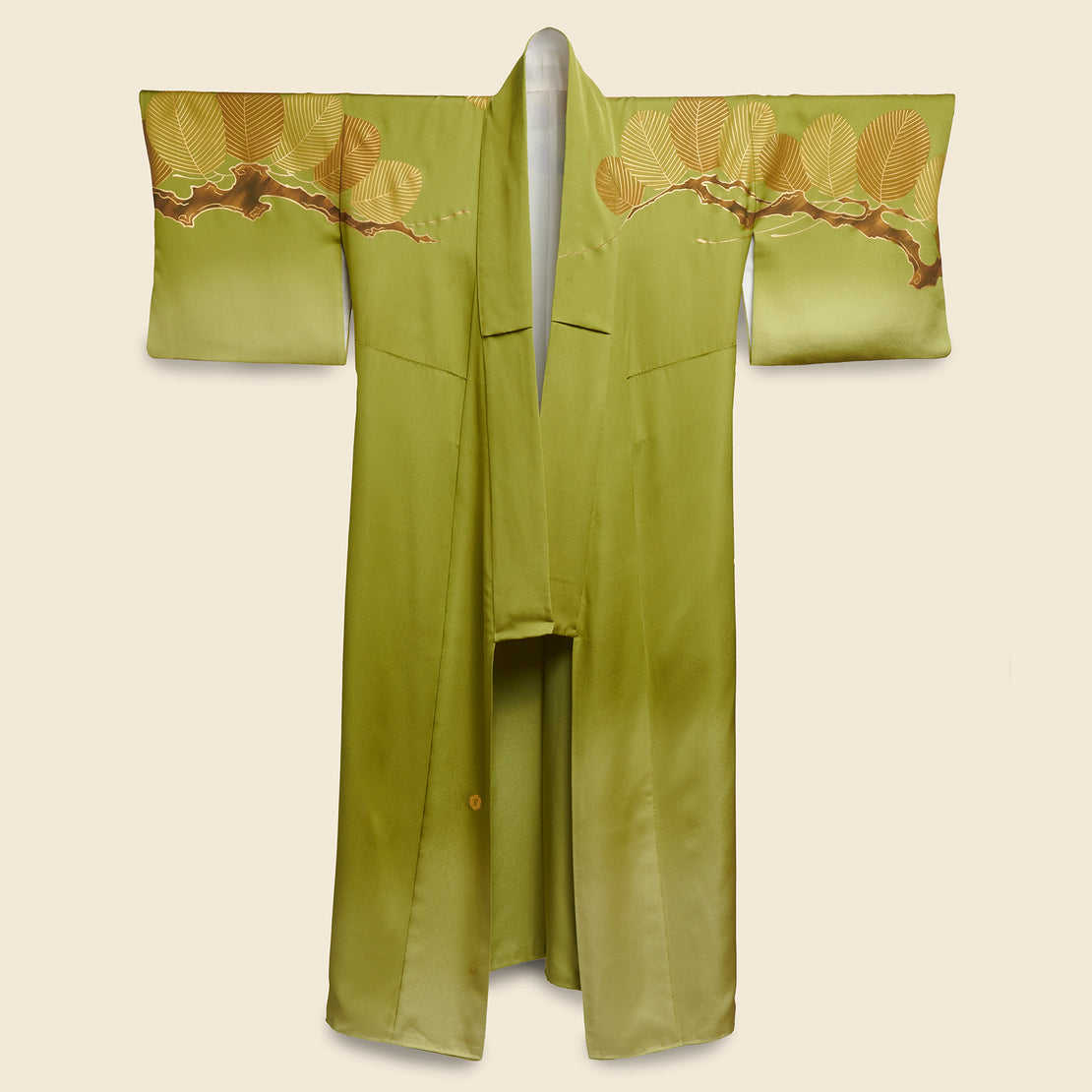 Vintage Long Silk Kimono - Green/Gold, Branch & Leaf Motif