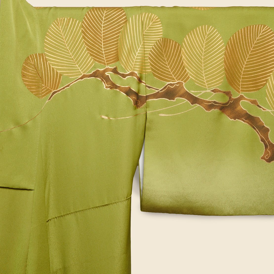 Long Silk Kimono - Green/Gold, Branch & Leaf Motif