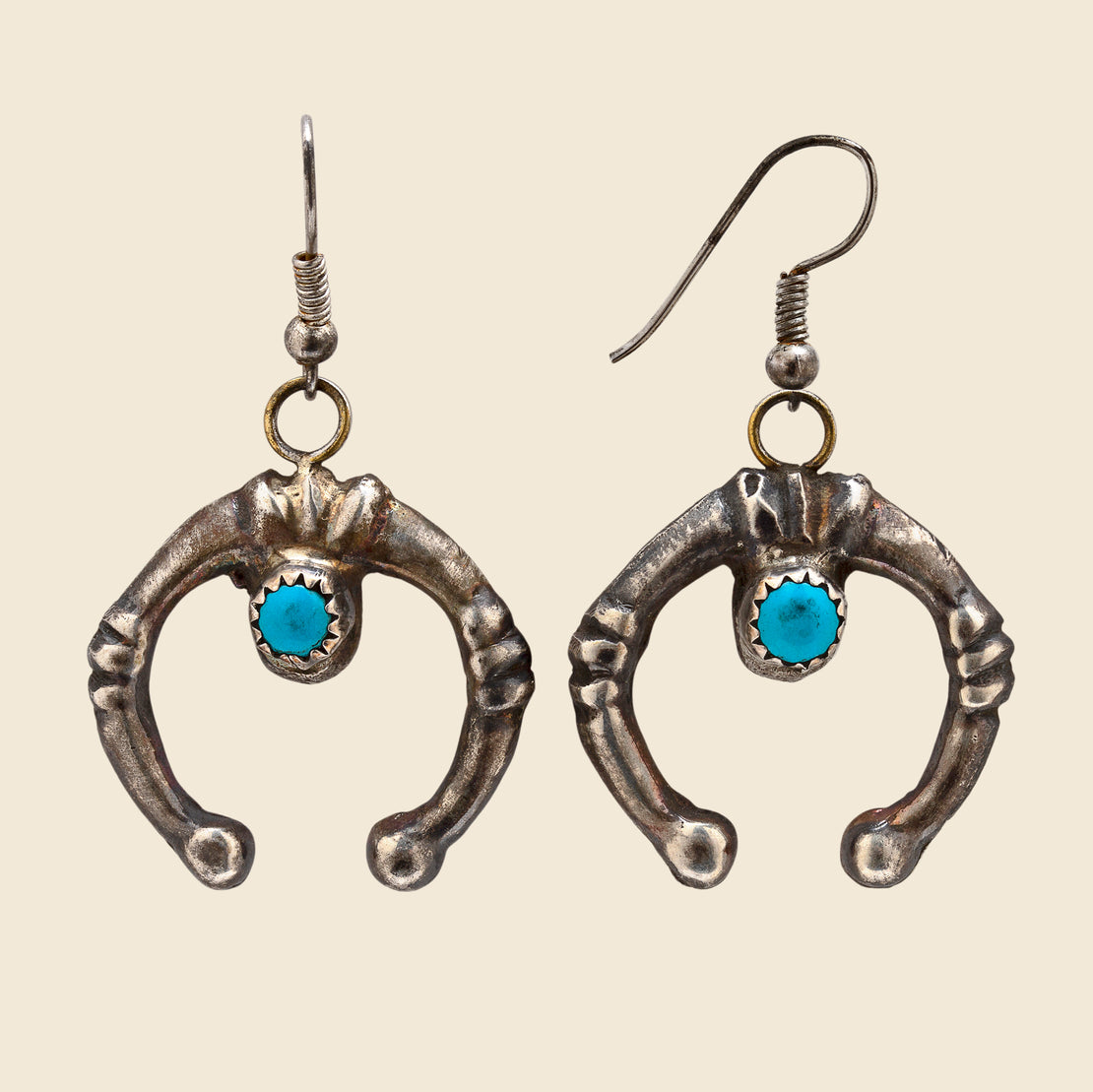 Vintage Sterling/Turquoise Small Naja Dangle Hook Earrings - Blue