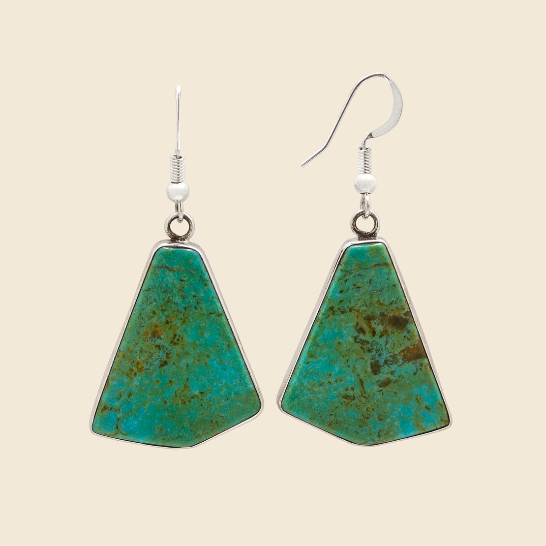 Vintage Sterling Backed Triangular Turquoise Dangle Hook Earrings - Silver/Green