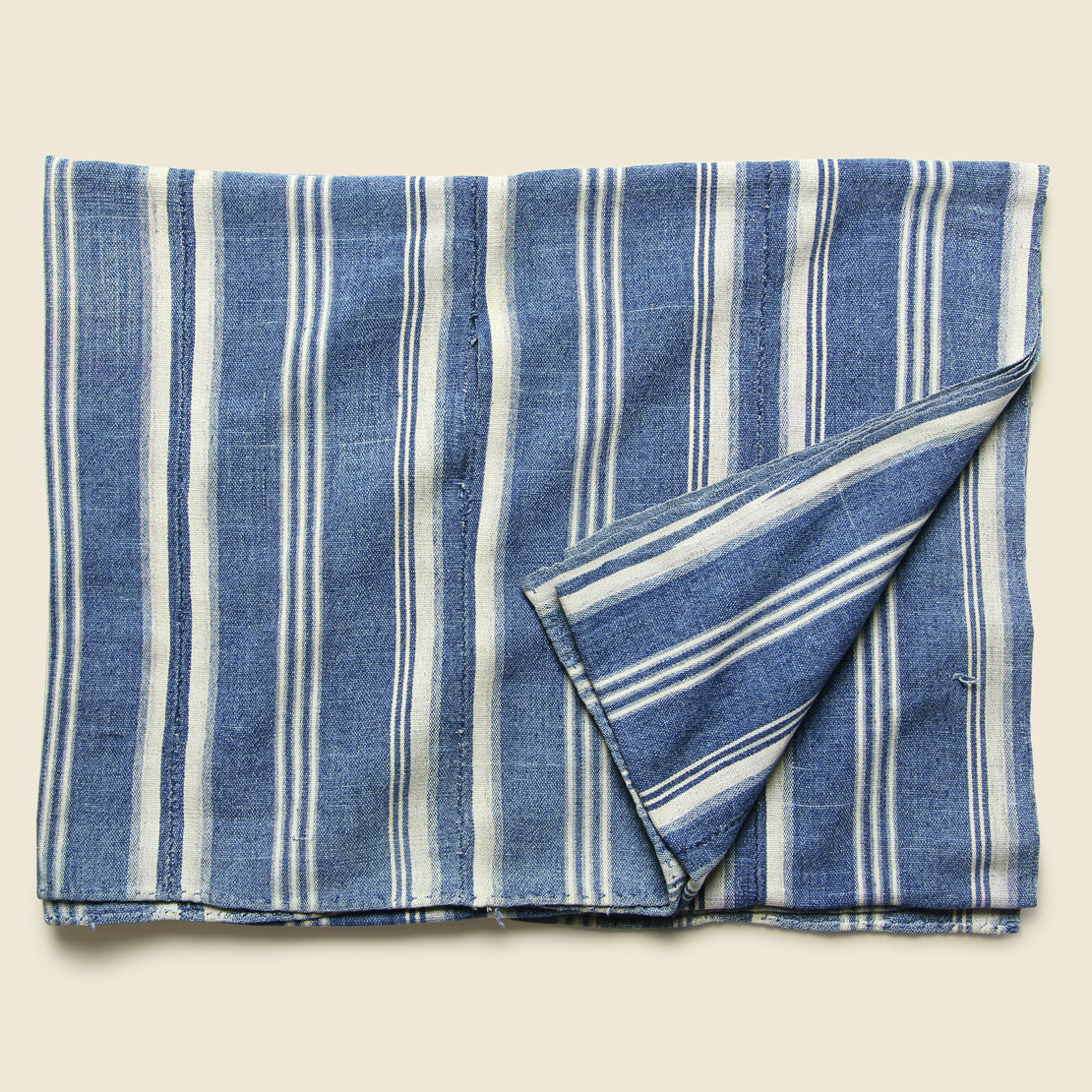 Vintage African Indigo Textile - Three Stripe Cream