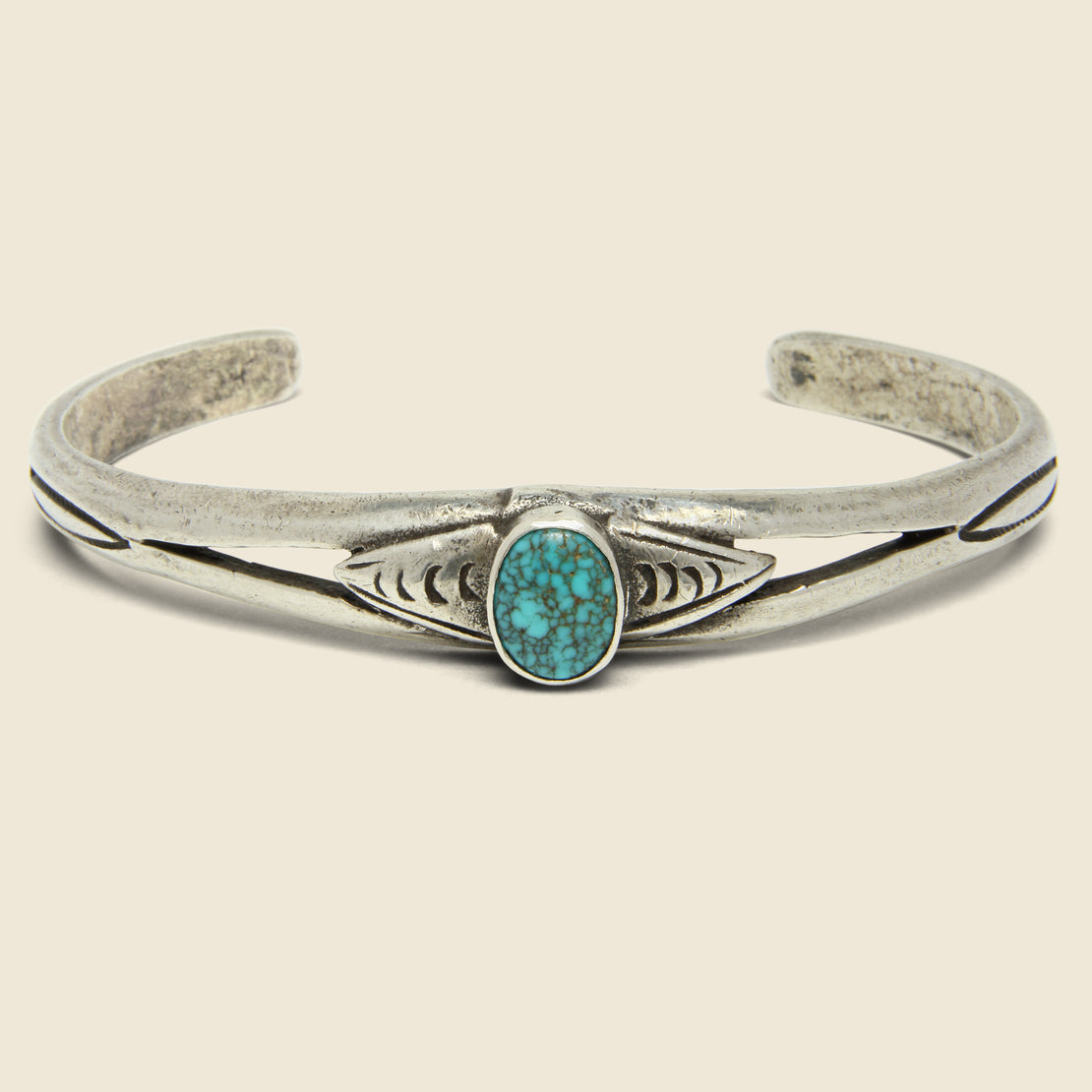 Vintage Oval Turquoise & Sterling Stamped Cuff - Silver/Turquoise