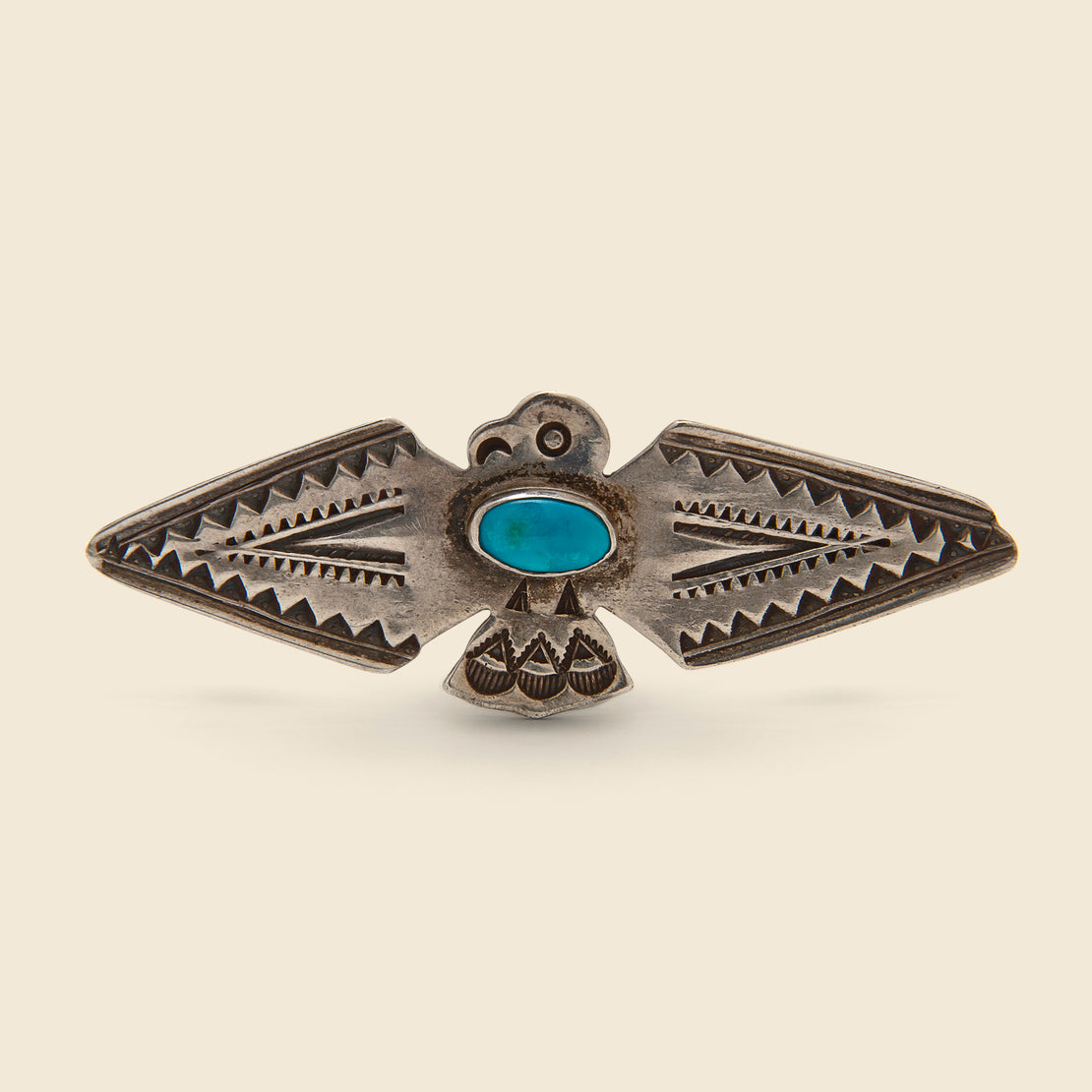 Vintage Sterling & Turquoise Diamond Wing Thunderbird Pin