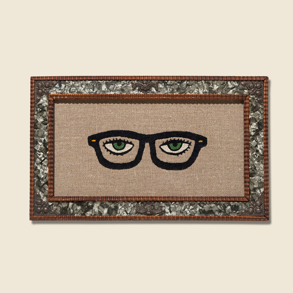 Art Gallery Eyeglass Needlepoint In Vintage Rectangular Frame