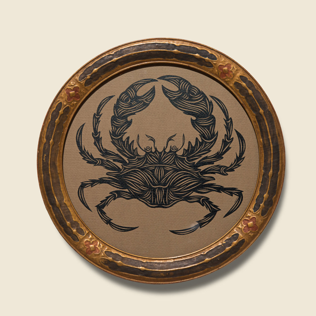 Patch NYC Crab in Vintage Round Frame