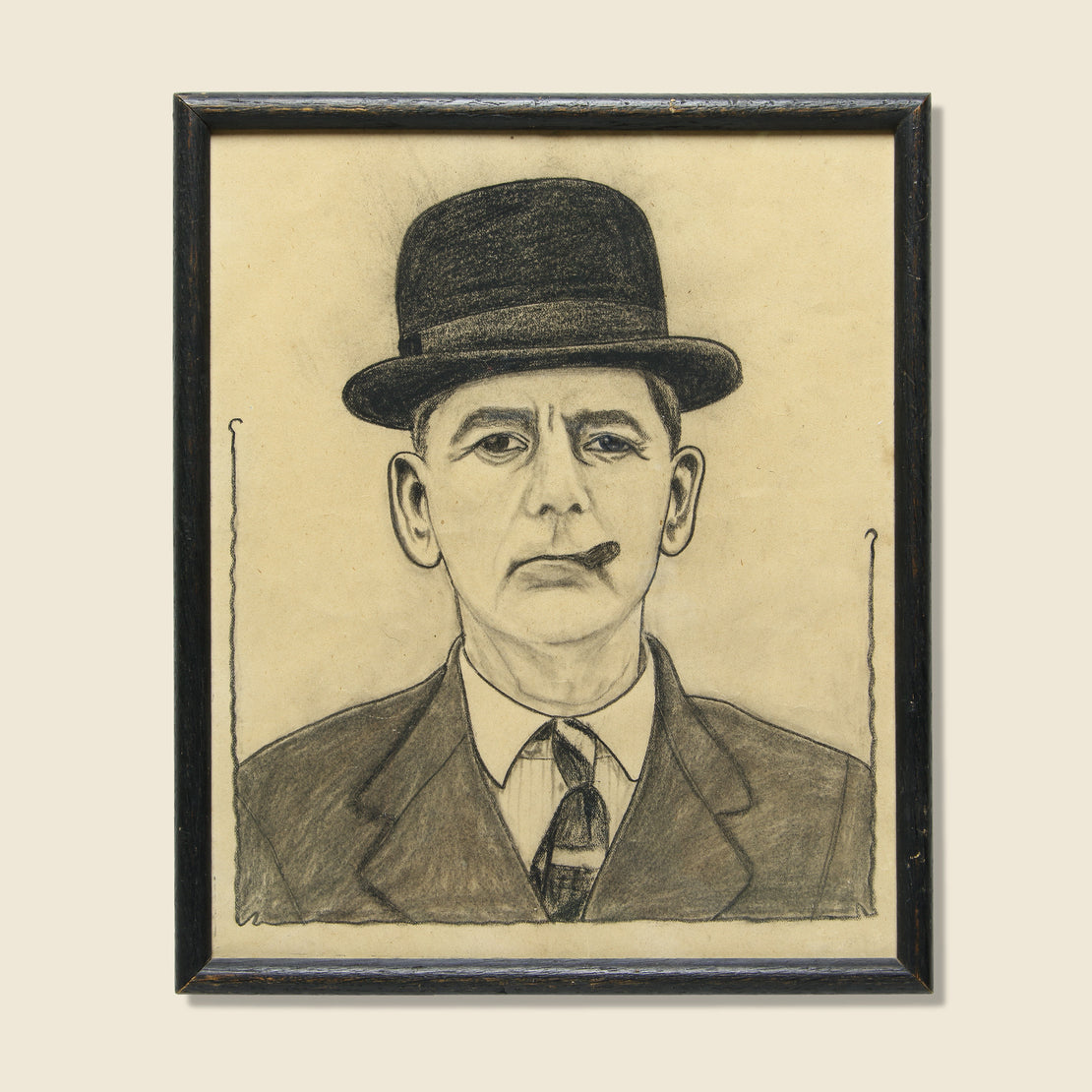 Vintage Small Chalk Drawing - Man in Bowler