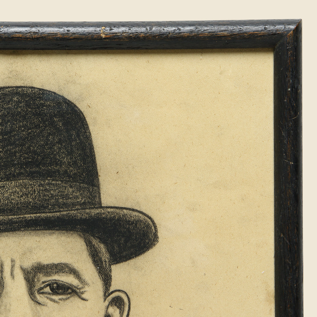 Small Chalk Drawing - Man in Bowler - Vintage - STAG Provisions - One & Done - Art