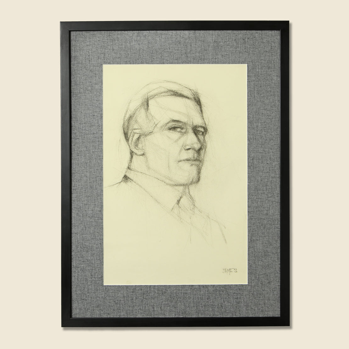 Vintage 1950s Cubist Pencil Portrait