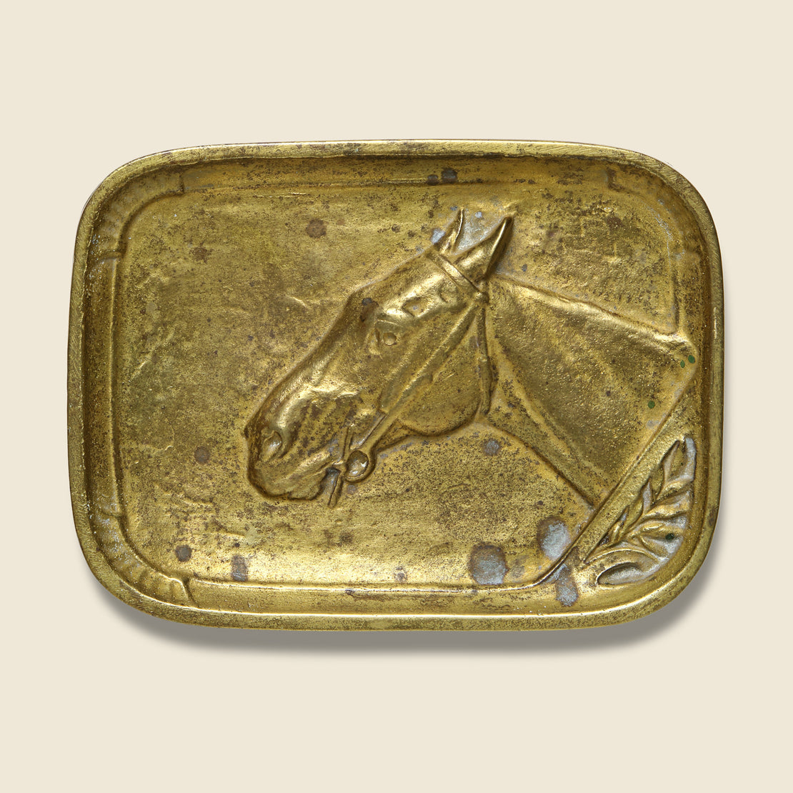 Vintage Brass Tray with Raised Horse Motif