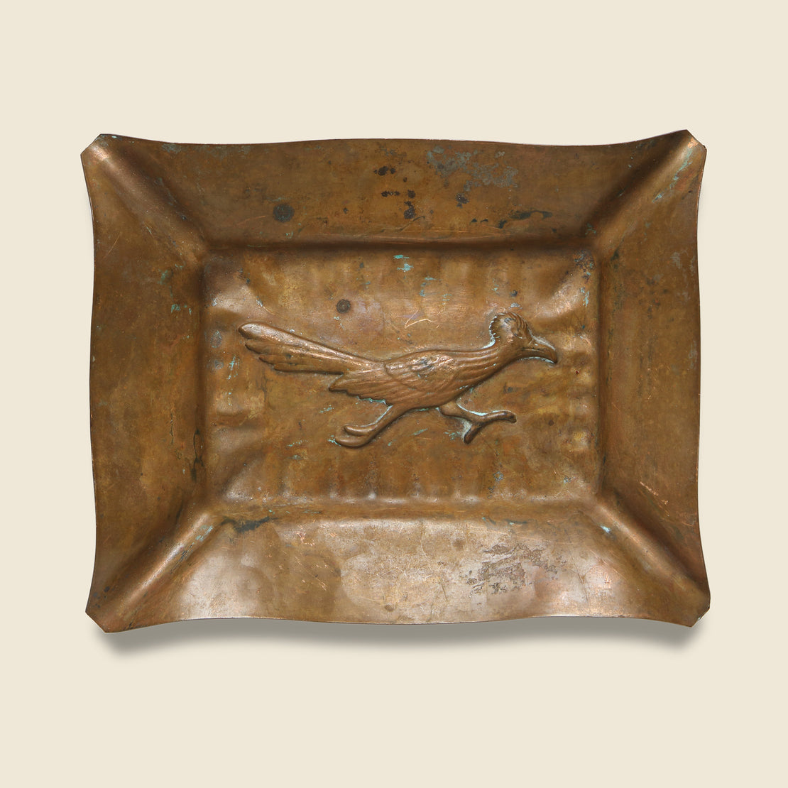 Vintage Copper Tray with Road Runner Relief Design