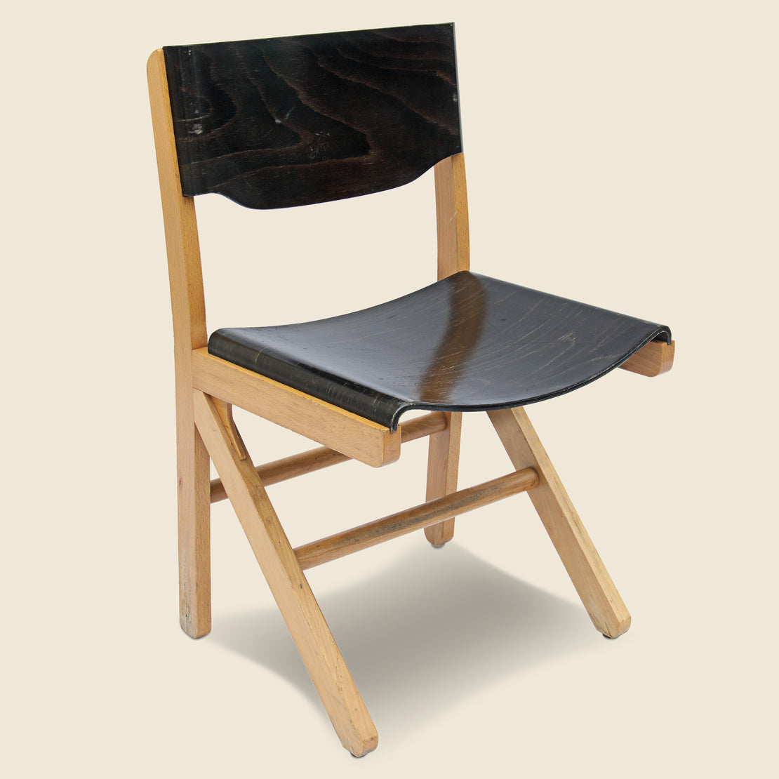 Vintage English Industrial Plywood Chair - Black
