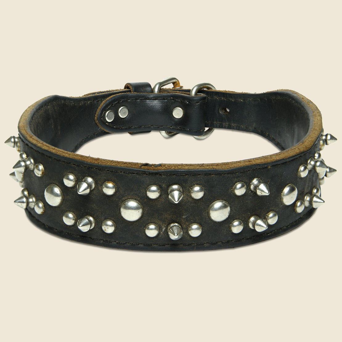 Vintage Spiked Leather Dog Collar