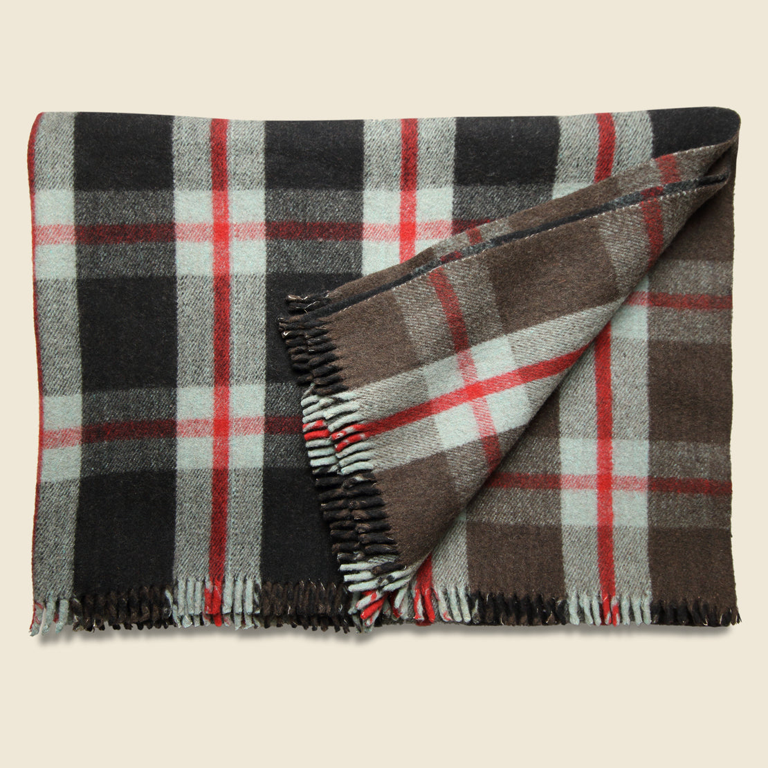 Vintage Vintage Indian Wool Plaid Blanket - Black/Red
