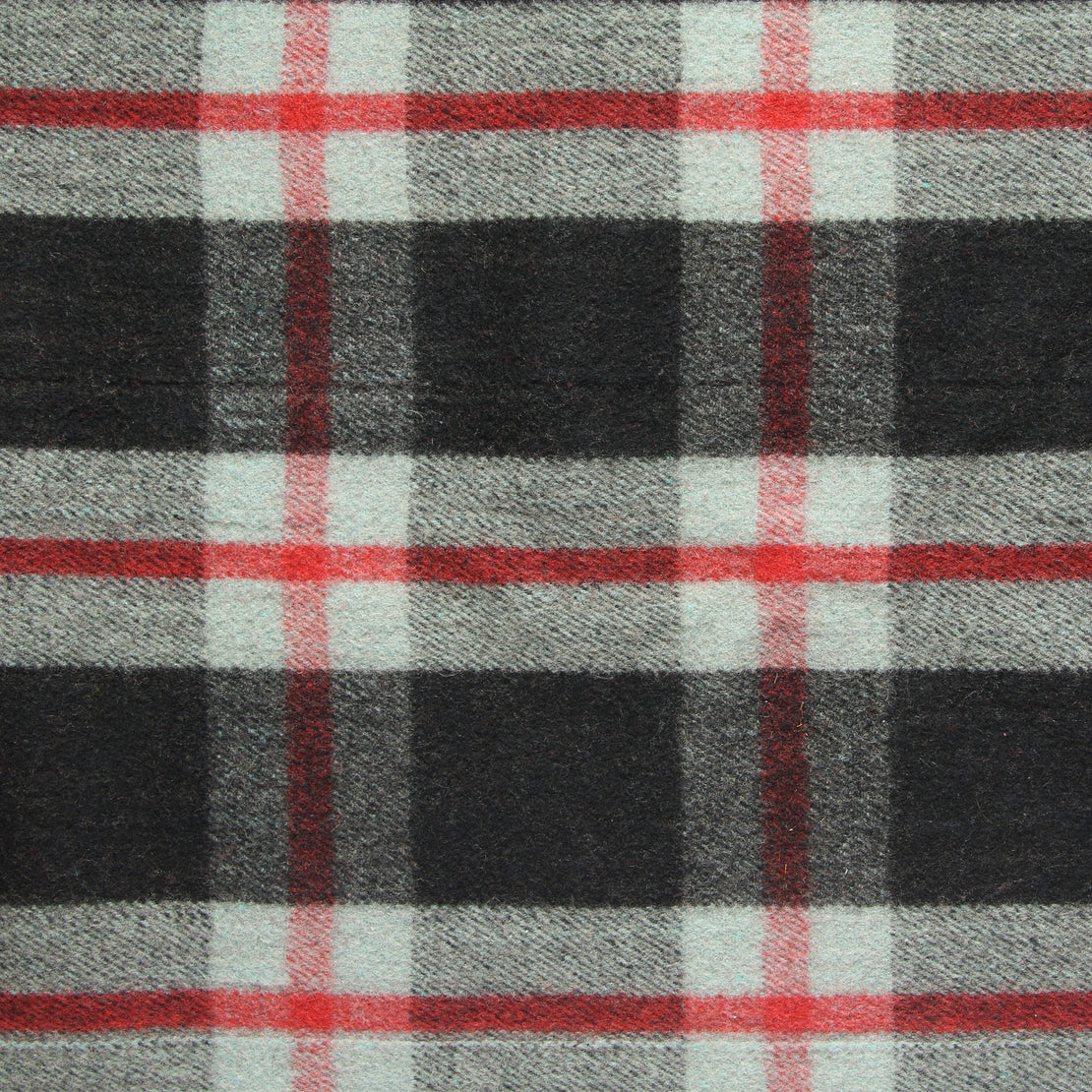 Vintage Indian Wool Plaid Blanket - Black/Red