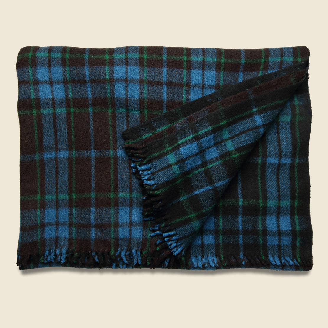 Vintage Vintage Indian Wool Plaid Blanket - Black/Green/Blue