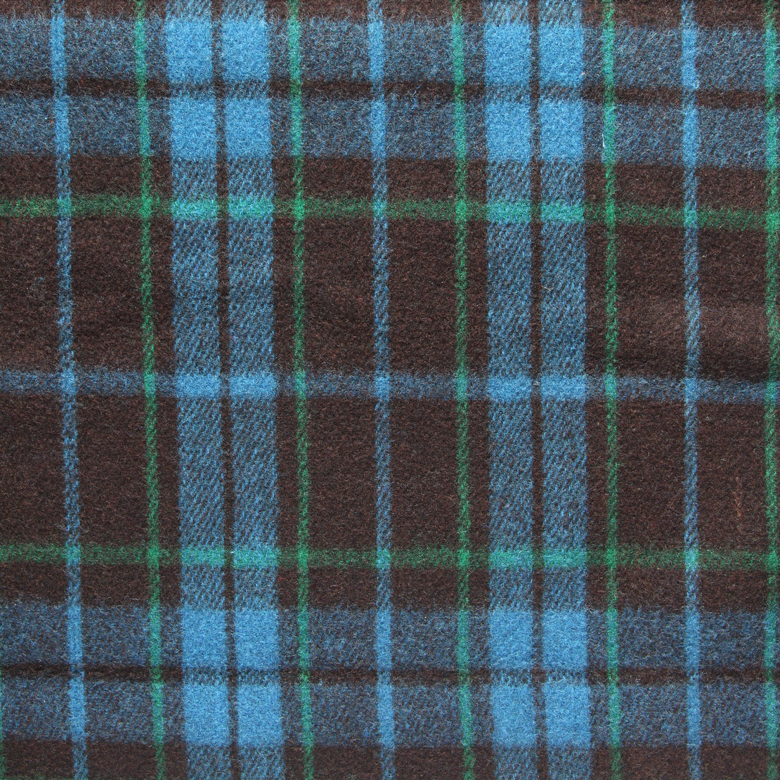 Vintage Indian Wool Plaid Blanket - Black/Green/Blue