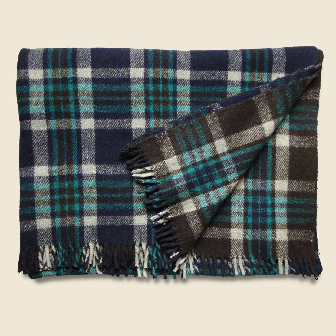 Vintage Vintage Indian Wool Plaid Blanket - Navy/White/Teal